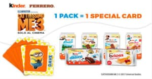 Card Stacca e Attacca Cattivissimo Me 3 Omaggio con Kinder e Ferrero