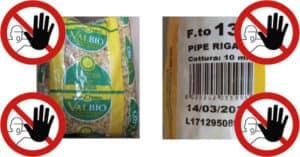 Parassiti nella pasta di semola BIO del marchio Valbio, lotto ritirato